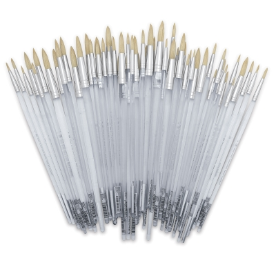 White Bristle, Rounds, Long Handle, Set of 60