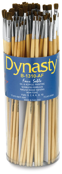 Synthetic Sable Long-Handled Flat Brushes<br>Canister Set of 72