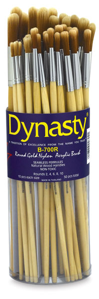Bright Gold Nylon Acrylic Round Brushes, Canister Set of 50