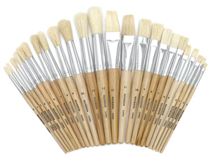 White Bristle Brush Assortment of 24