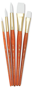 White Taklon Brushes, Set of 5 (#9152)
