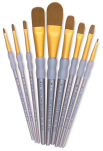 Taklon Filbert/kOval Wash Brushes, Set of 9