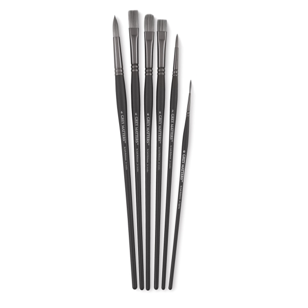 Synthetic Acrylic Brushes, Set of 6
