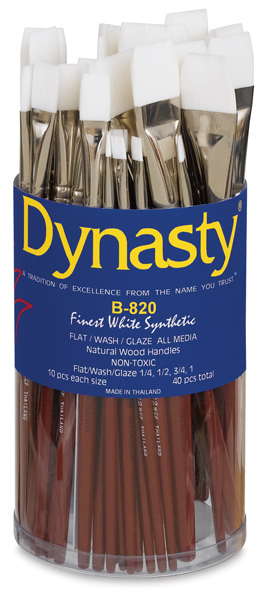 Finest White Synthetic Flat Wash, 40 Brush Assortment