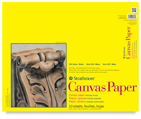 "Canvas Paper Pad, 10 Sheets 16"" × 20"""