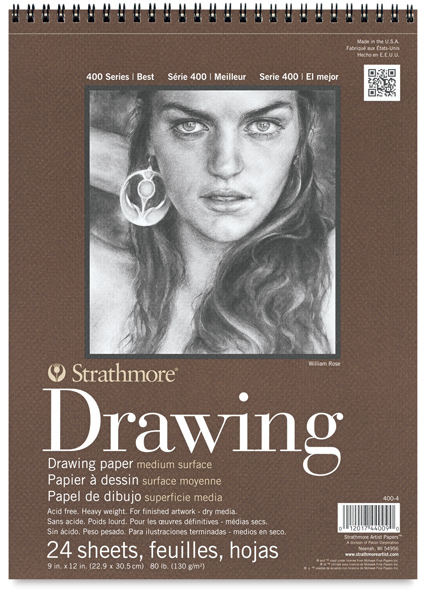 "Drawing Paper Pad, 24 Sheets, 9"" × 12"""