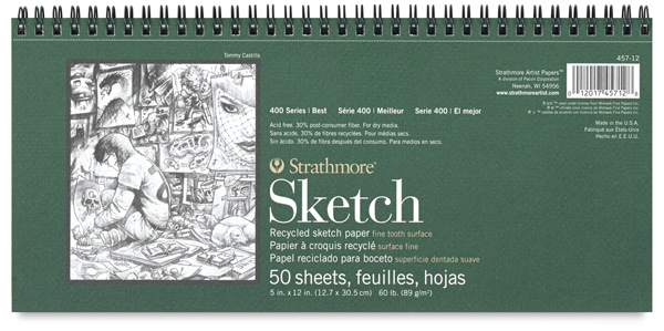 "Sketch Pad, Landscape, 50 Sheets,<br> 12;"" × 5½"""