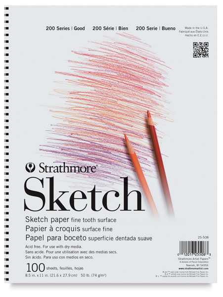 Sketch Pad, 100 Sheets Spiral Bound, Side
