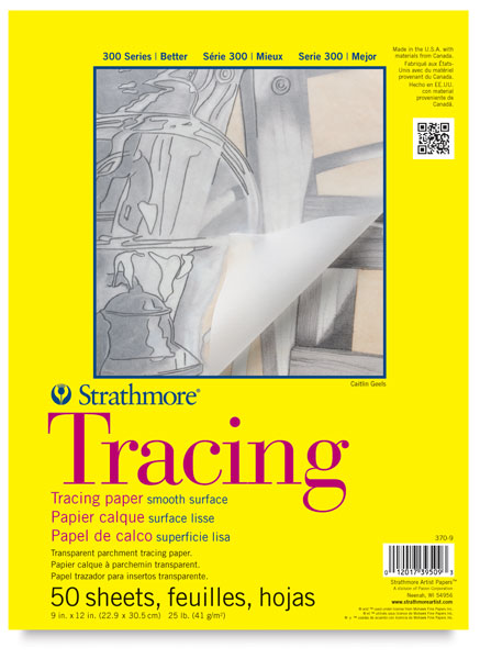 "Tracing Paper Pad, 50 Sheets<br>9"" × 12"""