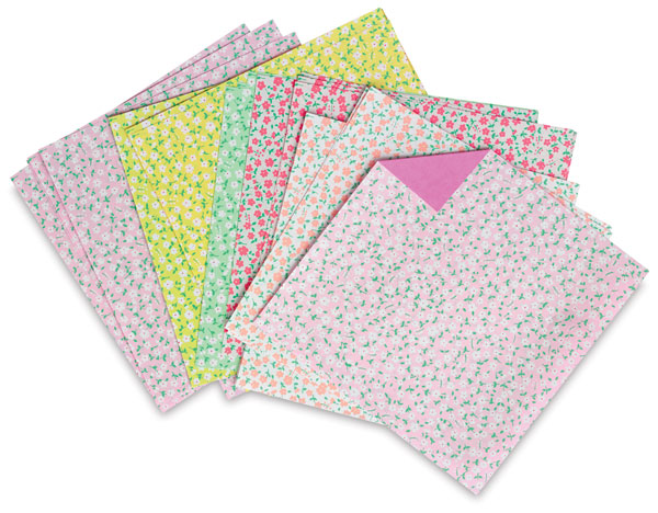 Double Color Flora Origami Paper, Pkg of 32
