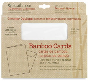 Bamboo Cards and Envelopes, Box of 10<br>Textured, Natural