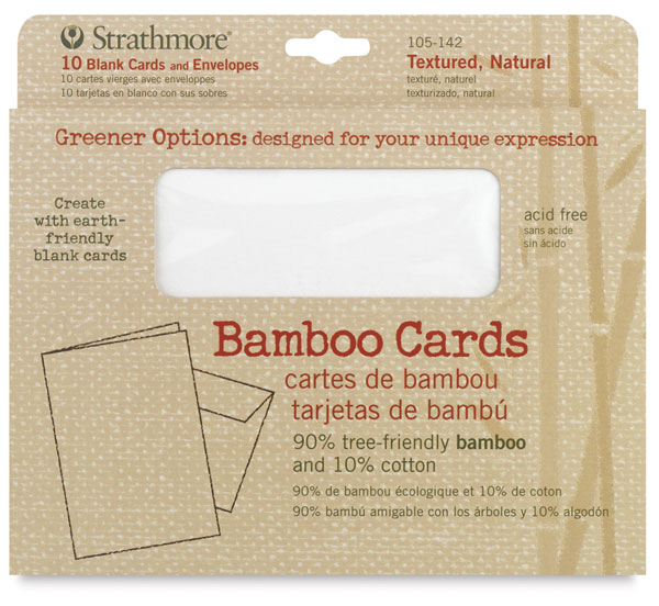 Bamboo Cards and Envelopes, Box of 10Textured, Natural