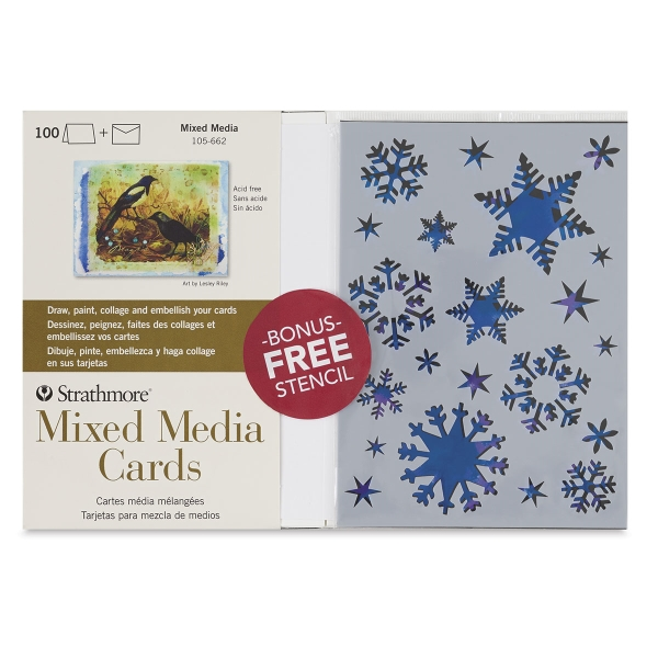 400 Series Mixed Media Cards, Pkg of 100 with <strong>FREE</strong> Stencil