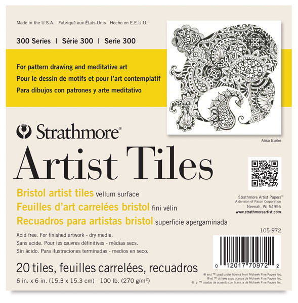 "300 Series Bristol Artist Tiles, 6"" × 6"", Pkg of 20 Tiles"