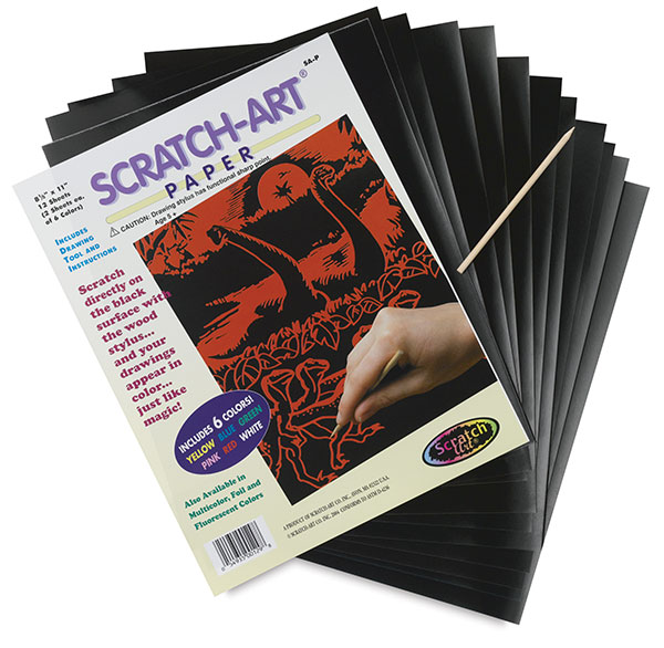 Scratch Art Paper, Pkg of 12 Sheets