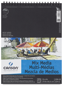 "Wirebound Mix Media Pad, 20 Sheets, Portrait, 11"" × 14"""