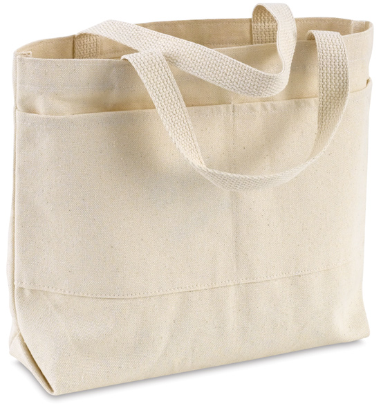 Small Canvas Tote Bag, w/ Pockets