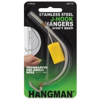 Hangman J-Hook Hanger with Thumbsaver, Pkg of 4