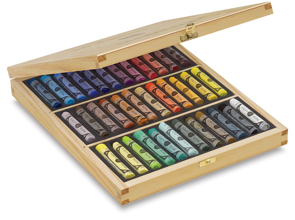 Assorted Colors, Wooden Box Set of 36, Full Sticks