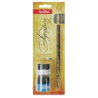 Calligraphy Set, Silver and Blue Ink
