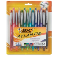 Atlantis Original Retractable Ball Pens, Set of 14
