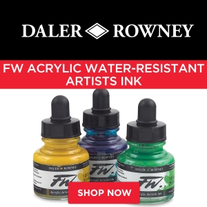 Daler rowney fw acrylic water resistant artists ink for Acrylic paint water resistant
