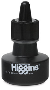 Black Non-Waterproof Calligraphy Ink, 1 oz Bottle