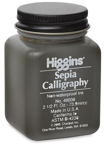 Sepia Non-Waterproof Calligraphy Ink, 2.5 oz Bottle