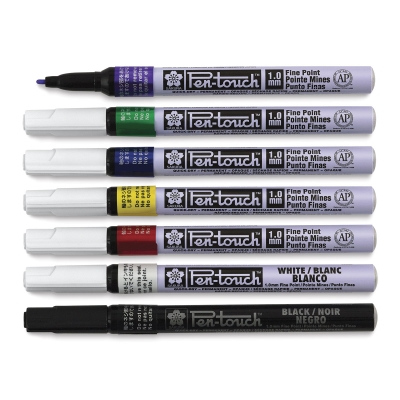 Set of 7, Fine Tip Markers, Assorted Colors