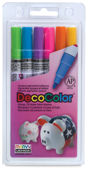 Hot Colors Set of 6, Fine Tip