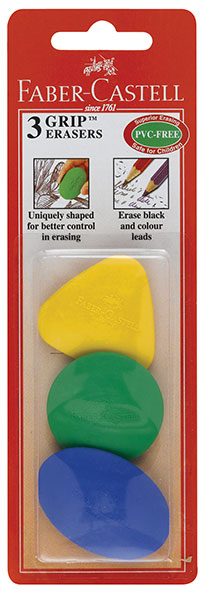 Grip Erasers, Set of 3