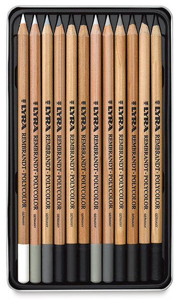 Oil-Based Colored Pencils, Set of 12 Grays