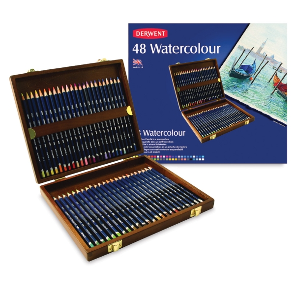 Watercolor Pencil Wooden Box Gift Set of 48