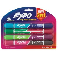 2-in-1 Dry Erase Markers, Set of 4