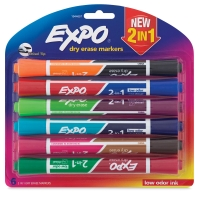 2-in-1 Dry Erase Markers, Set of 6