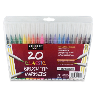 Brush Tip Markers, Set of 20