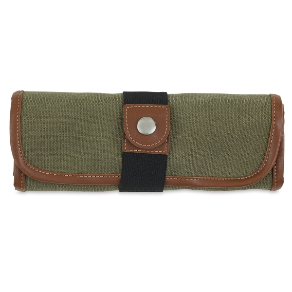 Roll Up Pencil Case for 36 Pencils, Olive