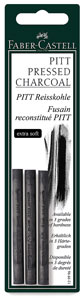 Compressed Charcoal Sticks, Extra Soft, Pkg of 3