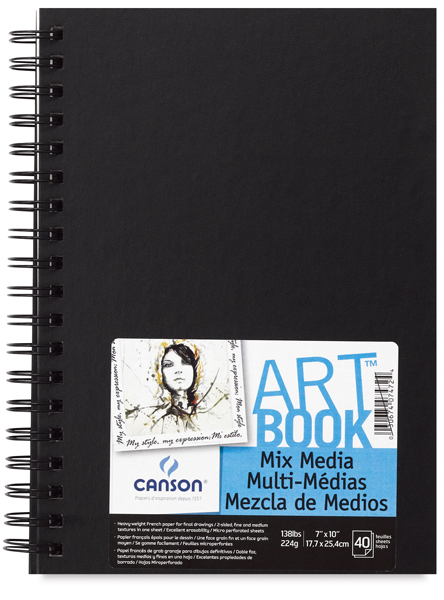 "Mix Media Hardbound ArtBooks, 40 sheets 7"" x 10""  Portrait"