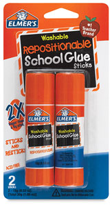 Washable Repositionable Glue Sticks, Pkg of 2