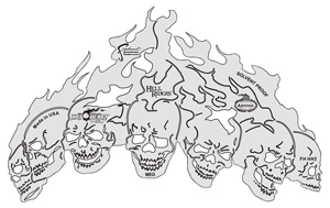 HotHeadz Hell Riders Templates, Set of 4