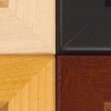 Colors: Unfinished, Black, Rosewood, Alderwood (Clockwise, starting at upper left)