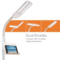Dual Shade LED Floor Lamp with USB Charging Station