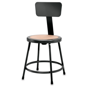 Fixed Height Stool With Backrest, Black