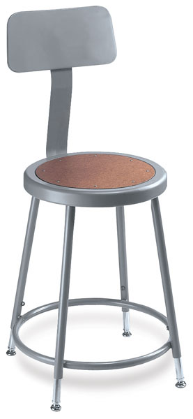 Adjustable Stool with Backrest, Grey