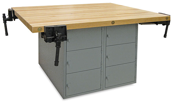 12-Locker Workbench with 4 Woodworking Vises, Large