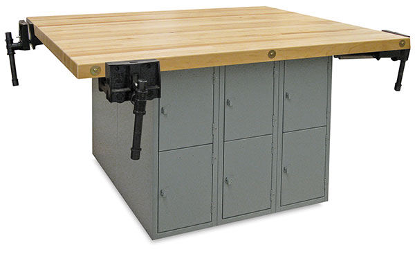 12-Locker Workbench with 4 Woodworking Vises, Medium