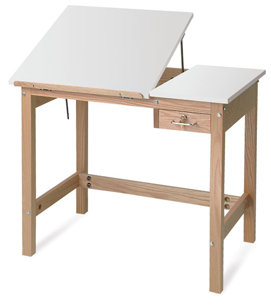 Drafting Table, with 2 Piece Top - SMI Wooden Drafting Table - BLICK Art Materials