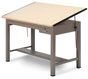 Four-Post Drafting Table with Tool Drawer and Plan Drawer