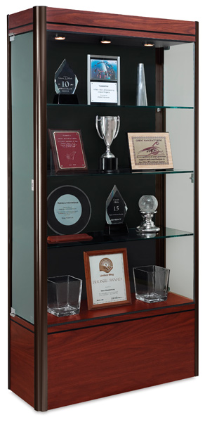 Medium Display Case, Cherry Base with Dark Bronze Frame and Black Backing